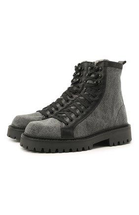 Мужские комбинированные ботинки VIC MATIE серого цвета, арт. 1Z5940U.Y02C8UB001 | Фото 1 (Подошва: Массивная; Материал внешний: Текстиль; Материал внутренний: Текстиль, Натуральная кожа; Мужское Кросс-КТ: Ботинки-обувь)