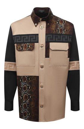 Мужская хлопковая рубашка VERSACE бежевого цвета, арт. A88355/A229958 | Фото 1