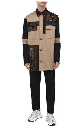 Мужская хлопковая рубашка VERSACE бежевого цвета, арт. A88355/A229958 | Фото 2