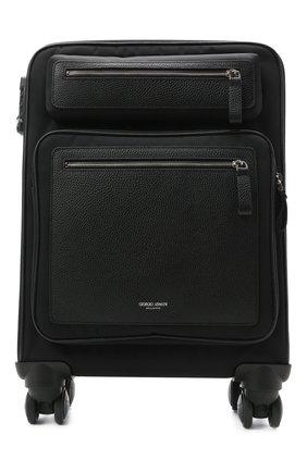 Мужской комбинированный чемодан GIORGIO ARMANI черного цвета, арт. Y2Q207/YI88E   Фото 1