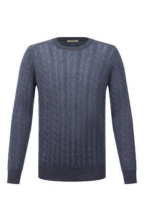 Мужской свитер из кашемира и льна FIORONI синего цвета, арт. MK22121A1 | Фото 1