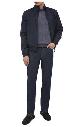Мужской свитер из кашемира и льна FIORONI синего цвета, арт. MK22121A1 | Фото 2