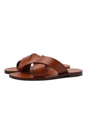 Мужские кожаные шлепанцы RALPH LAUREN коричневого цвета, арт. 815835897 | Фото 1