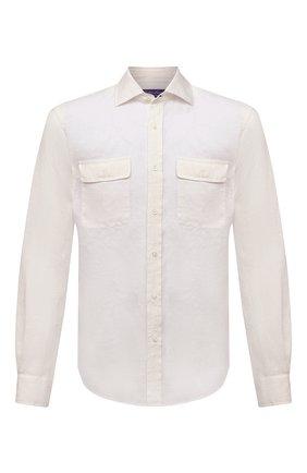 Мужская льняная рубашка RALPH LAUREN белого цвета, арт. 790836054 | Фото 1