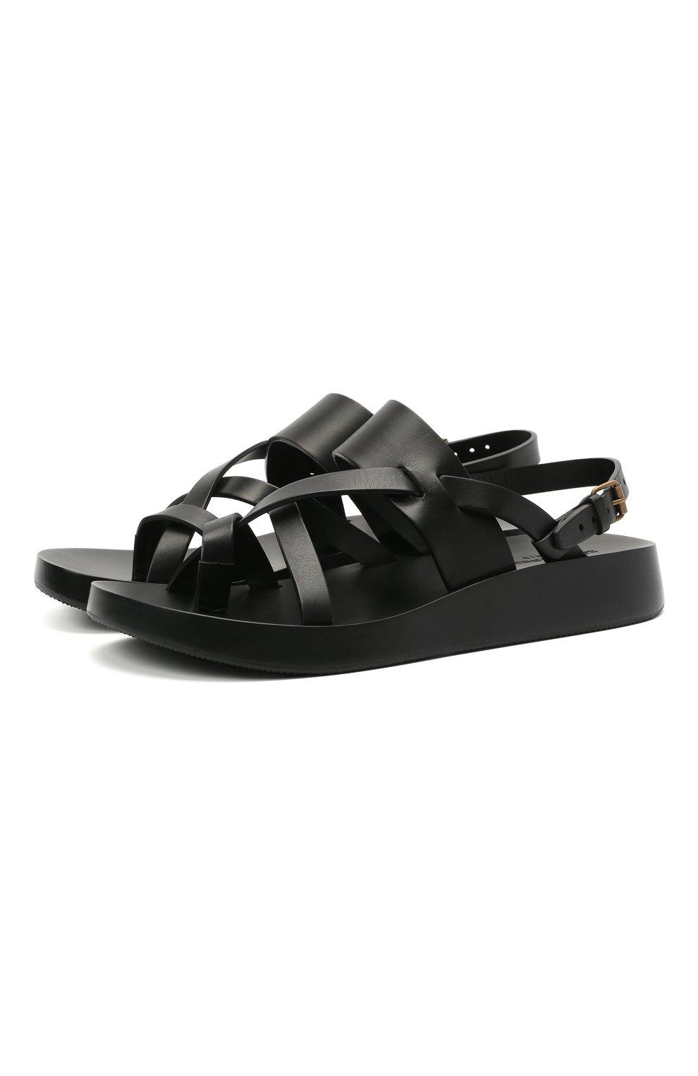Мужские кожаные сандалии SAINT LAURENT черного цвета, арт. 649005/12K00   Фото 1 (Материал внутренний: Натуральная кожа)