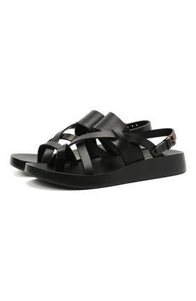 Мужские кожаные сандалии SAINT LAURENT черного цвета, арт. 649005/12K00 | Фото 1 (Материал внутренний: Натуральная кожа)