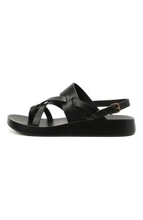 Мужские кожаные сандалии SAINT LAURENT черного цвета, арт. 649005/12K00   Фото 3 (Материал внутренний: Натуральная кожа)