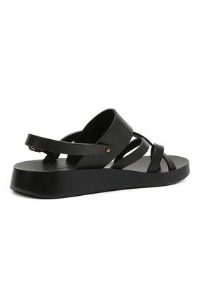 Мужские кожаные сандалии SAINT LAURENT черного цвета, арт. 649005/12K00   Фото 4 (Материал внутренний: Натуральная кожа)