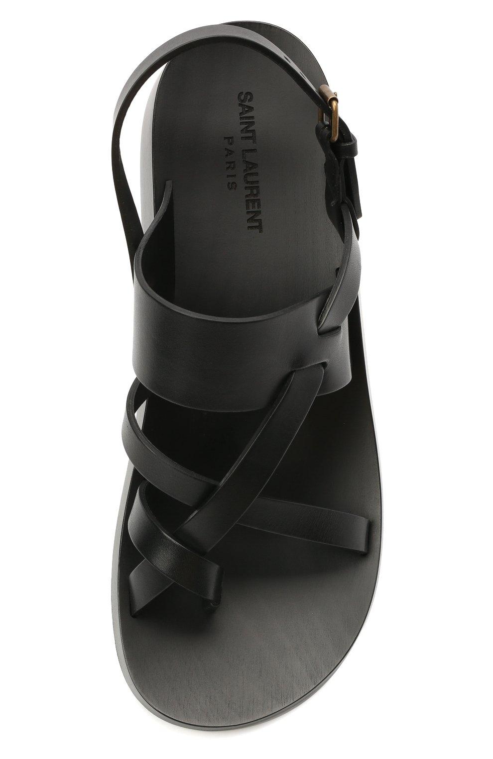 Мужские кожаные сандалии SAINT LAURENT черного цвета, арт. 649005/12K00   Фото 5 (Материал внутренний: Натуральная кожа)