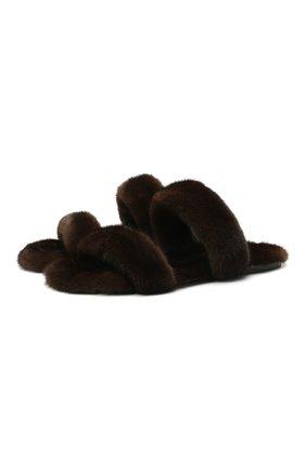 Мужские шлепанцы из меха норки bleach SAINT LAURENT темно-коричневого цвета, арт. 649014/E0E00 | Фото 1 (Материал внешний: Натуральный мех; Материал утеплителя: Натуральный мех)