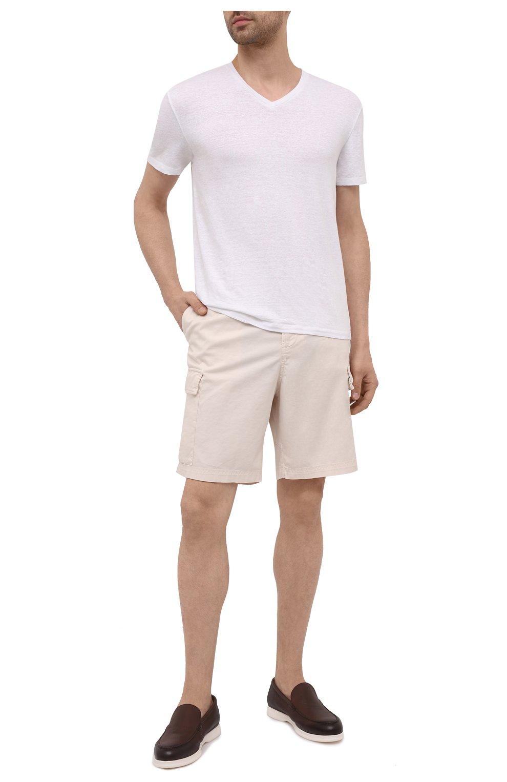 Мужская льняная футболка DANIELE FIESOLI белого цвета, арт. DF 7111   Фото 2 (Принт: Без принта; Рукава: Короткие; Длина (для топов): Стандартные; Материал внешний: Лен; Стили: Кэжуэл)