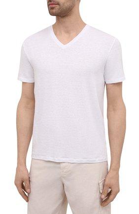 Мужская льняная футболка DANIELE FIESOLI белого цвета, арт. DF 7111   Фото 3 (Принт: Без принта; Рукава: Короткие; Длина (для топов): Стандартные; Материал внешний: Лен; Стили: Кэжуэл)