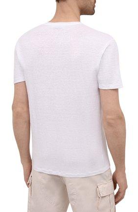 Мужская льняная футболка DANIELE FIESOLI белого цвета, арт. DF 7111   Фото 4 (Принт: Без принта; Рукава: Короткие; Длина (для топов): Стандартные; Материал внешний: Лен; Стили: Кэжуэл)