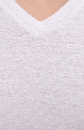 Мужская льняная футболка DANIELE FIESOLI белого цвета, арт. DF 7111   Фото 5 (Принт: Без принта; Рукава: Короткие; Длина (для топов): Стандартные; Материал внешний: Лен; Стили: Кэжуэл)