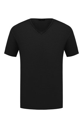 Мужская льняная футболка DANIELE FIESOLI черного цвета, арт. DF 7111   Фото 1
