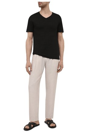 Мужская льняная футболка DANIELE FIESOLI черного цвета, арт. DF 7111   Фото 2