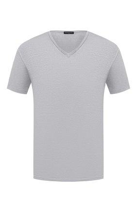 Мужская льняная футболка DANIELE FIESOLI светло-серого цвета, арт. DF 7111   Фото 1