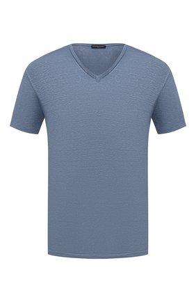 Мужская льняная футболка DANIELE FIESOLI синего цвета, арт. DF 7111   Фото 1