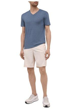 Мужская льняная футболка DANIELE FIESOLI синего цвета, арт. DF 7111   Фото 2