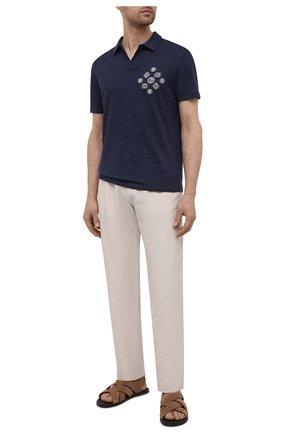 Мужские брюки из вискозы и льна GIORGIO ARMANI светло-бежевого цвета, арт. 9SGPP05M/T00RJ | Фото 2 (Материал внешний: Вискоза, Лен; Длина (брюки, джинсы): Стандартные; Случай: Повседневный; Стили: Кэжуэл)