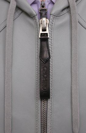 Мужской кожаный бомбер TOM FORD серого цвета, арт. BW408/TFL867   Фото 5