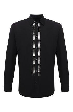 Мужская хлопковая рубашка DSQUARED2 черного цвета, арт. S71DM0454/S36275 | Фото 1 (Материал внешний: Хлопок; Рукава: Длинные; Длина (для топов): Стандартные; Воротник: Кент; Случай: Повседневный; Манжеты: На пуговицах; Принт: С принтом; Стили: Гранж)