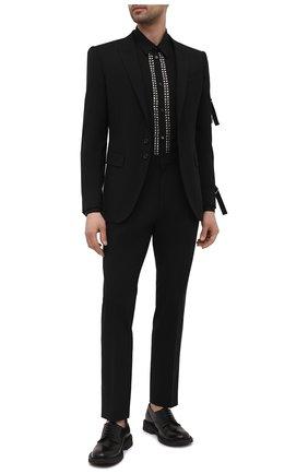 Мужская хлопковая рубашка DSQUARED2 черного цвета, арт. S71DM0454/S36275 | Фото 2 (Материал внешний: Хлопок; Рукава: Длинные; Длина (для топов): Стандартные; Воротник: Кент; Случай: Повседневный; Манжеты: На пуговицах; Принт: С принтом; Стили: Гранж)
