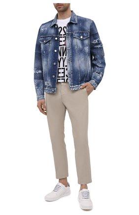 Мужские хлопковые брюки DSQUARED2 бежевого цвета, арт. S74KB0543/S41794 | Фото 2 (Длина (брюки, джинсы): Стандартные; Материал внешний: Хлопок; Случай: Повседневный; Силуэт М (брюки): Чиносы; Стили: Кэжуэл)