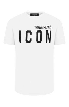 Мужская хлопковая футболка DSQUARED2 белого цвета, арт. S79GC0026/S23009 | Фото 1 (Материал внешний: Хлопок; Рукава: Короткие; Длина (для топов): Стандартные; Принт: С принтом; Стили: Гранж)