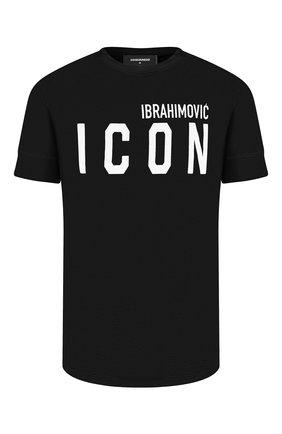 Мужская хлопковая футболка DSQUARED2 черного цвета, арт. S79GC0026/S23009 | Фото 1 (Длина (для топов): Стандартные; Материал внешний: Хлопок; Рукава: Короткие; Принт: С принтом; Стили: Гранж)