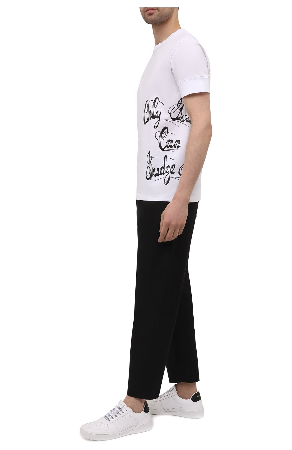 Мужская хлопковая футболка DSQUARED2 белого цвета, арт. S79GC0029/S23009 | Фото 2 (Рукава: Короткие; Длина (для топов): Стандартные; Стили: Гранж; Принт: С принтом; Материал внешний: Хлопок)