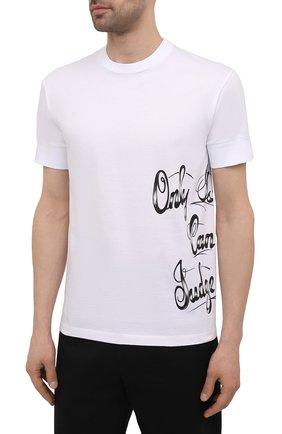 Мужская хлопковая футболка DSQUARED2 белого цвета, арт. S79GC0029/S23009 | Фото 3 (Рукава: Короткие; Длина (для топов): Стандартные; Стили: Гранж; Принт: С принтом; Материал внешний: Хлопок)