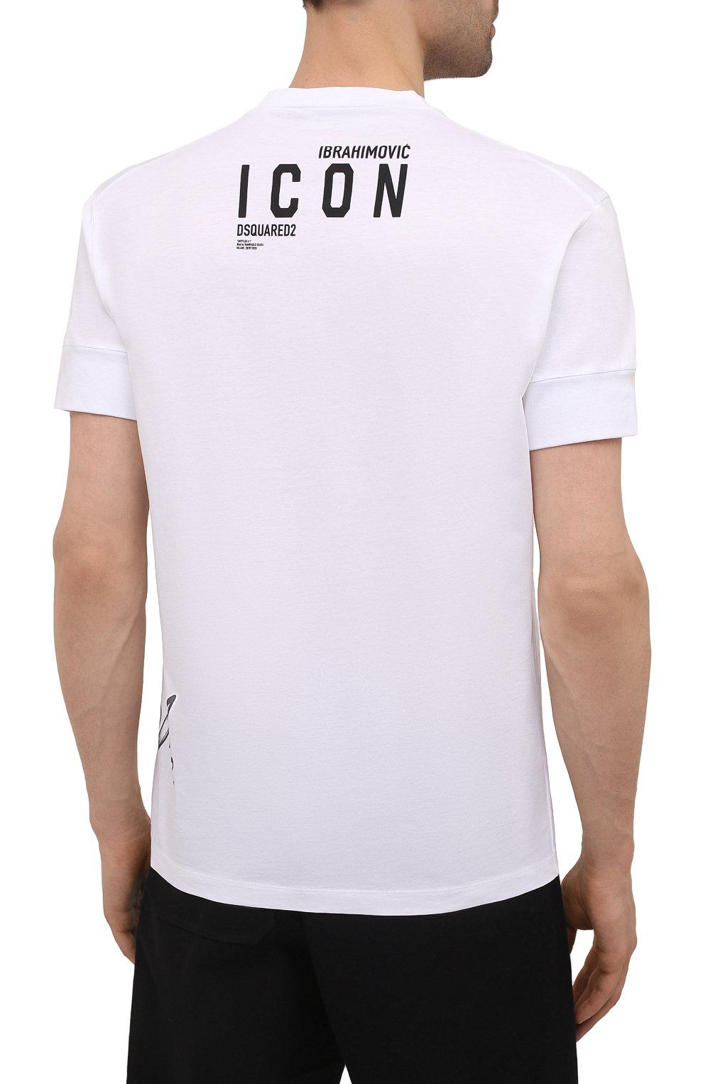 Мужская хлопковая футболка DSQUARED2 белого цвета, арт. S79GC0029/S23009 | Фото 4 (Рукава: Короткие; Длина (для топов): Стандартные; Стили: Гранж; Принт: С принтом; Материал внешний: Хлопок)