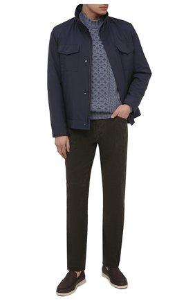 Мужские хлопковые брюки JAMES PERSE темно-зеленого цвета, арт. MRX1260 | Фото 2 (Материал внешний: Хлопок; Длина (брюки, джинсы): Стандартные; Случай: Повседневный; Стили: Кэжуэл)