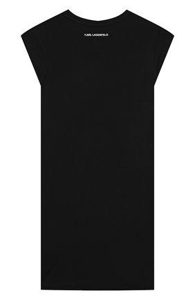 Детское хлопковое платье KARL LAGERFELD KIDS черного цвета, арт. Z12172 | Фото 2 (Рукава: Короткие; Материал внешний: Хлопок; Случай: Повседневный; Девочки Кросс-КТ: Платье-одежда; Ростовка одежда: 9 лет | 134 см, 12 лет | 152 см, 13 - 15 лет | 158 см, 5 лет | 110 см, 7 лет | 122 см)