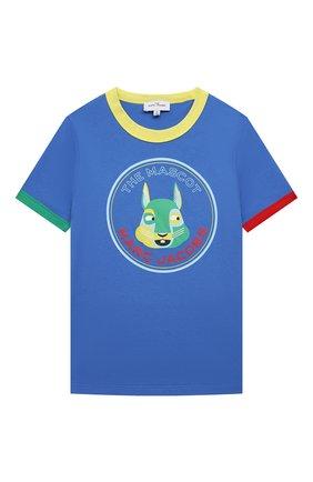Детская хлопковая футболка MARC JACOBS (THE) синего цвета, арт. W25464   Фото 1