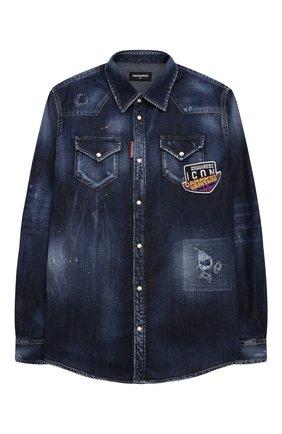 Детская джинсовая рубашка DSQUARED2 синего цвета, арт. DQ0260-D006H | Фото 1