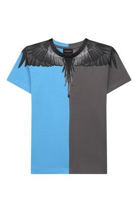 Детская хлопковая футболка MARCELO BURLON KIDS OF MILAN голубого цвета, арт. 21E/B/MB/1108/0010/2-6Y   Фото 1