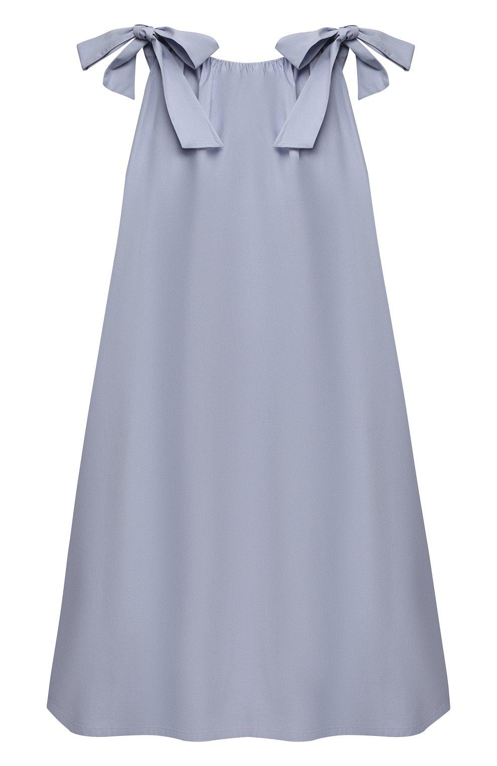 Детское хлопковое платье DOUUOD голубого цвета, арт. 21E/U/JR/AB60/0300/3A-8A | Фото 2 (Рукава: Короткие; Случай: Повседневный; Материал внешний: Хлопок; Девочки Кросс-КТ: Платье-одежда; Материал подклада: Хлопок; Ростовка одежда: 4 года | 104 см, 6 лет | 116 см, 8 лет | 128 см)