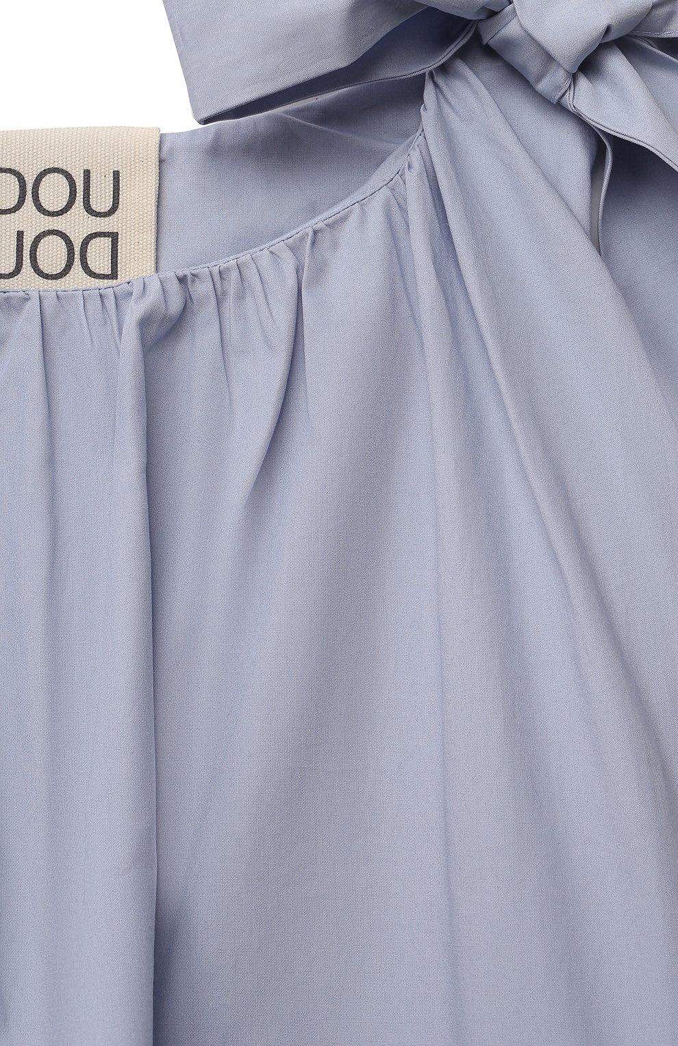 Детское хлопковое платье DOUUOD голубого цвета, арт. 21E/U/JR/AB60/0300/3A-8A | Фото 3 (Рукава: Короткие; Случай: Повседневный; Материал внешний: Хлопок; Девочки Кросс-КТ: Платье-одежда; Материал подклада: Хлопок; Ростовка одежда: 4 года | 104 см, 6 лет | 116 см, 8 лет | 128 см)