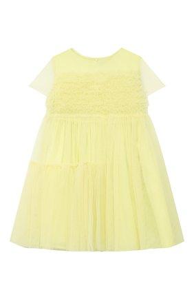 Детское хлопковое платье IL GUFO желтого цвета, арт. P21VM611H0018/5A-8A   Фото 1