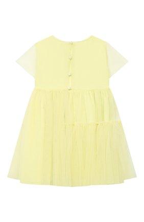 Детское хлопковое платье IL GUFO желтого цвета, арт. P21VM611H0018/5A-8A   Фото 2