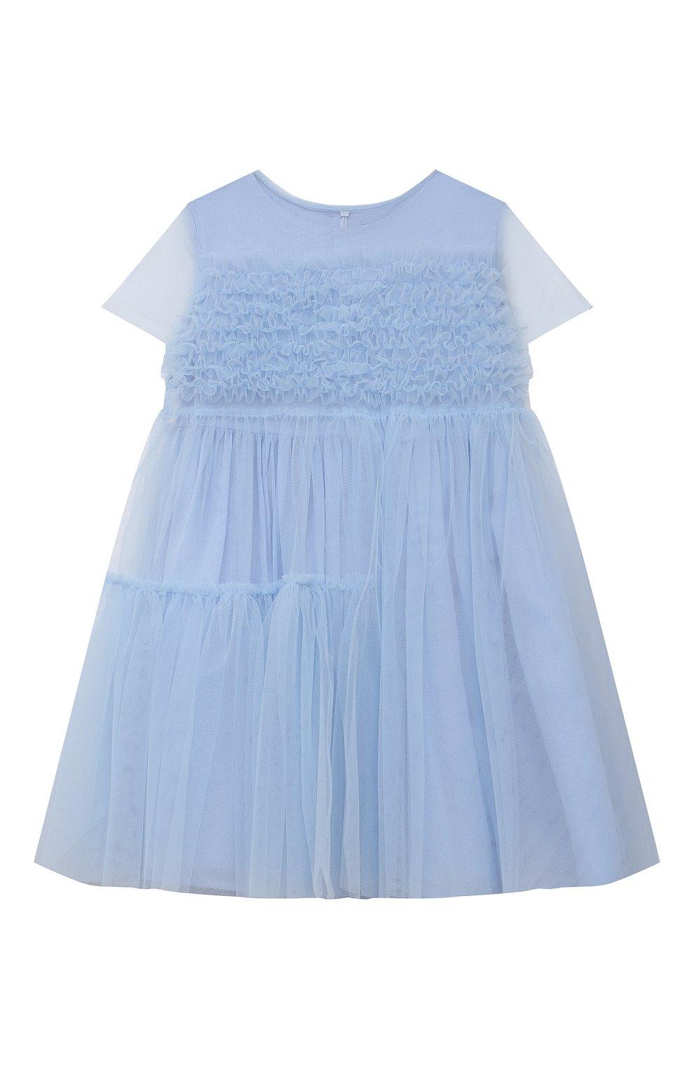 Детское хлопковое платье IL GUFO голубого цвета, арт. P21VM611H0018/2A-4A | Фото 1