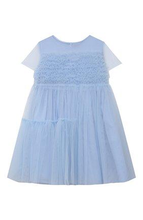Детское хлопковое платье IL GUFO голубого цвета, арт. P21VM611H0018/2A-4A   Фото 1