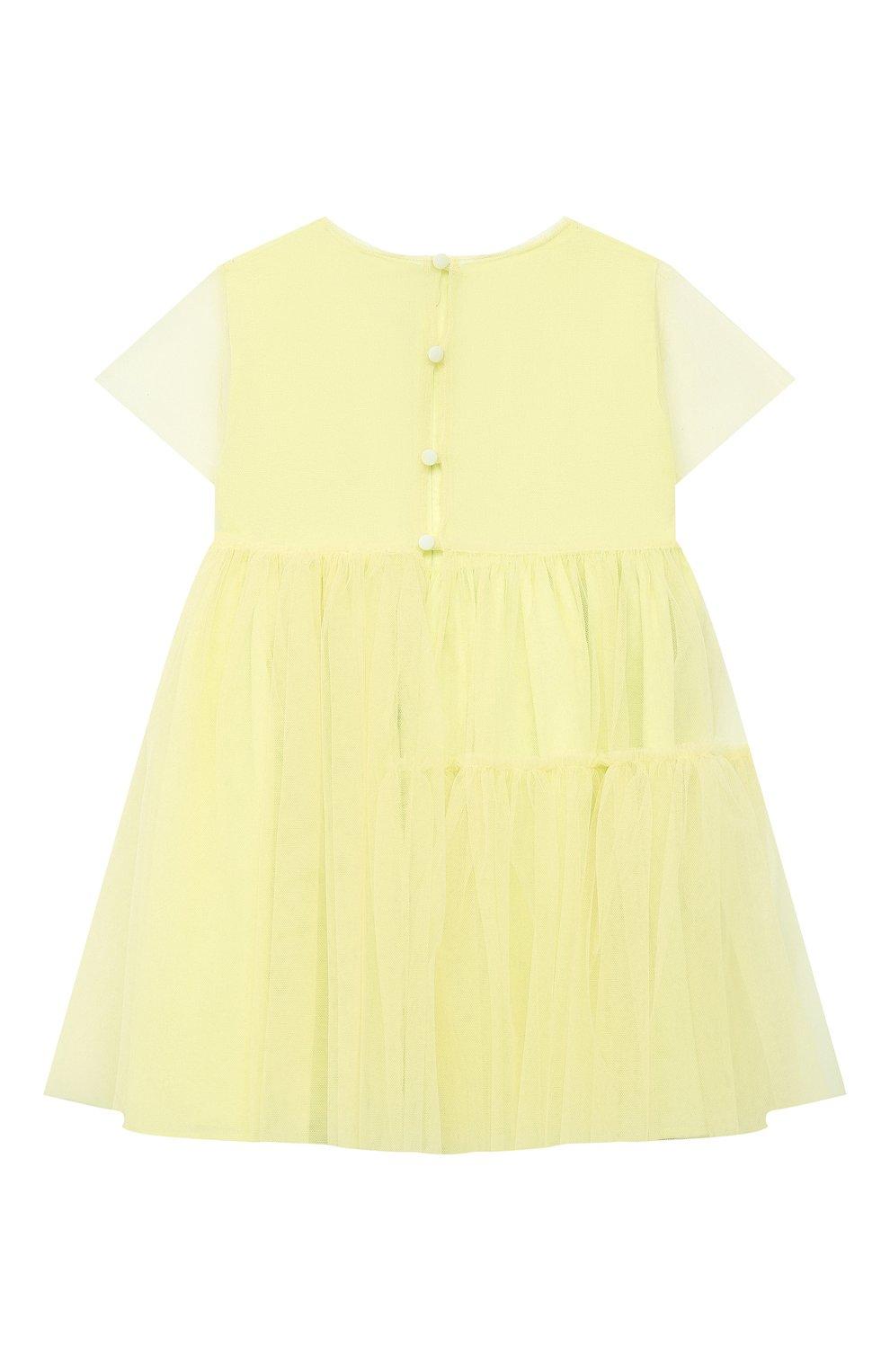 Детское хлопковое платье IL GUFO желтого цвета, арт. P21VM611H0018/2A-4A | Фото 2