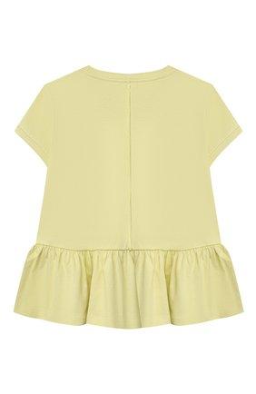 Детский хлопковый топ IL GUFO желтого цвета, арт. P21TS166M0014/5A-8A | Фото 2 (Материал внешний: Хлопок; Девочки Кросс-КТ: топ-одежда; Рукава: Короткие; Ростовка одежда: 4 года | 104 см, 5 лет | 110 см, 7 лет | 122 см)