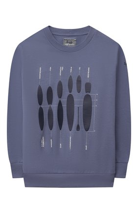 Детский хлопковый свитшот IL GUFO голубого цвета, арт. P21MF198M0030/5A-8A | Фото 1 (Рукава: Длинные; Материал внешний: Хлопок; Мальчики Кросс-КТ: Толстовка-одежда; Ростовка одежда: 4 года | 104 см, 5 лет | 110 см, 7 лет | 122 см)