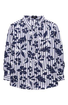Детская хлопковая рубашка IL GUFO темно-синего цвета, арт. P21CL113C4070/2A-4A | Фото 1 (Материал внешний: Хлопок; Рукава: Длинные; Случай: Повседневный; Ростовка одежда: 18 мес | 86 см, 2 года | 92 см, 3 года | 98 см)
