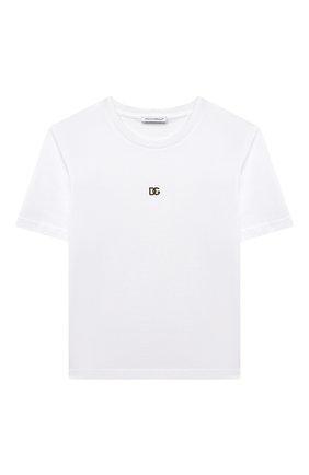 Детская хлопковая футболка DOLCE & GABBANA белого цвета, арт. L5JTAZ/G7YPF/8-14 | Фото 1