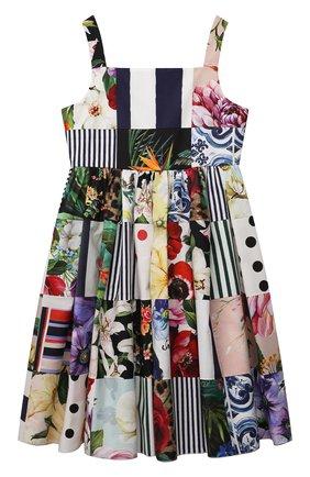 Детское хлопковое платье DOLCE & GABBANA разноцветного цвета, арт. L52DT0/G7YQ0/8-14 | Фото 1